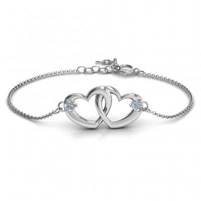 Sterling Silber Stellwerk Herz Versprechen Armband mit zwei Steinen
