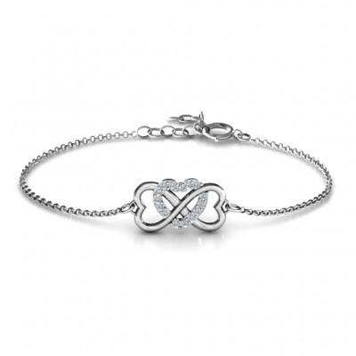Personalisierte Dreifache Herz Infinity Armband