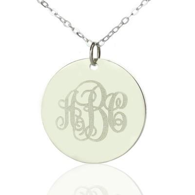 Festes Weiß Goldrebe Schriftart Disc Gravierte Monogramm Halskette