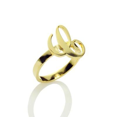 Personalisierte Carrie Anfangsbuchst Ring 18 Karat Gold überzogen