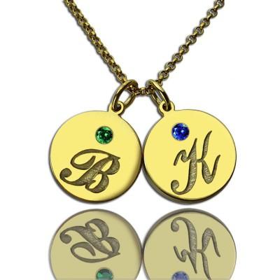 Gravierte Initial Geburtsstein Disc Charme Halskette 18 karätigem Gold überzogen