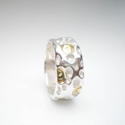 Coral Silber und Gold Ring
