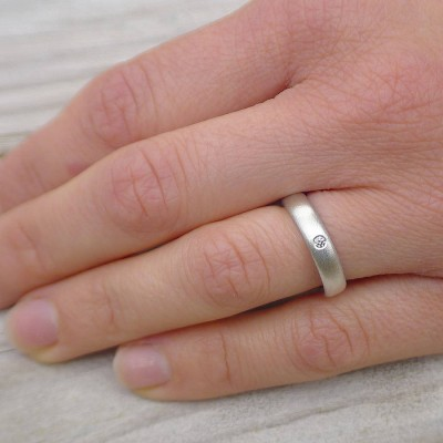 Handgemachte Frosted Silber Diamant Hochzeit Ringe