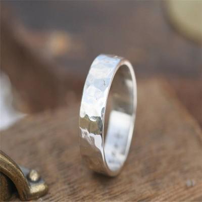 Gehämmert Personalisierte Silber Ring