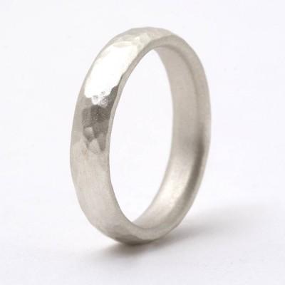 Thin Sterling Silber gehämmert Ring