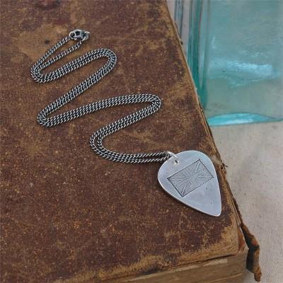 Britische Flagge Stempel Silber Plektrum Halskette