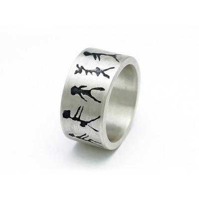 Capivara Höhlen Kunst Sterlingsilber Band Ring