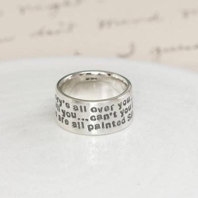 Personalisierte Sterling Silber Nachricht Ring