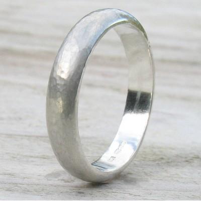 Handmade Sterling Silber gehämmert Ring