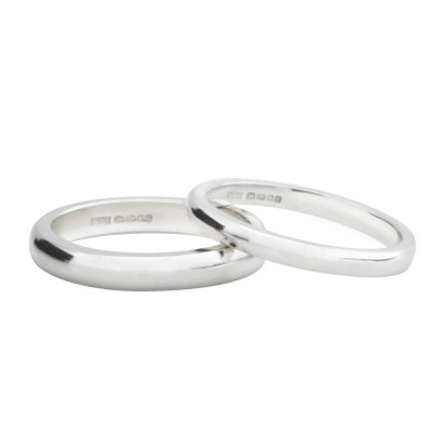 Sterling Silber D Form Wedding Band