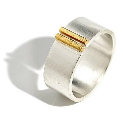 Silber und Gold Doppel Bar Wide Band Ring