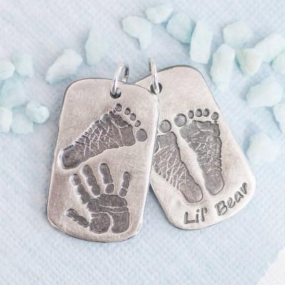 Footprint Handprint personalisierten Männer Dog Tag Halskette Zwei Anhänger