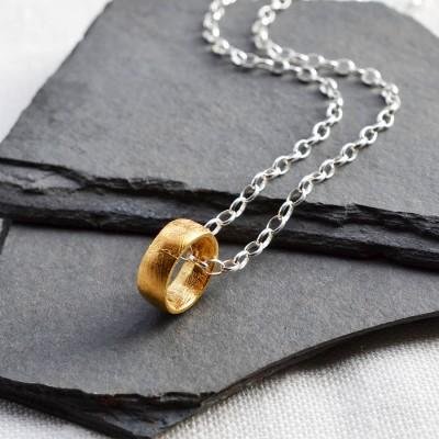 Gold überzogenes Meteorite Ring Halskette