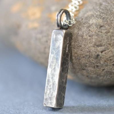 Handgemachte Schmiede Silber gehämmert Block Halskette