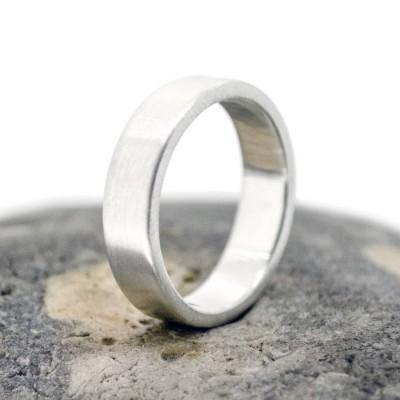Handgefertigte Satin Silber Rechteckig Ehering