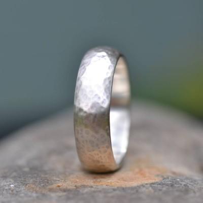 Handmade Silber Ehering leicht gehämmert