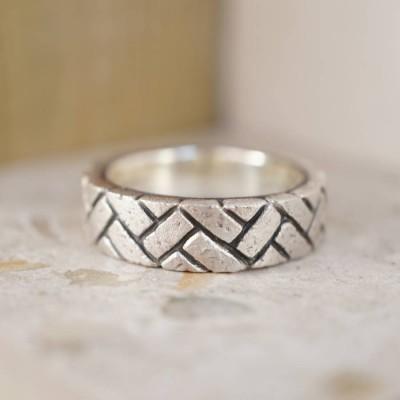 Herringbone Brick Silber Ring