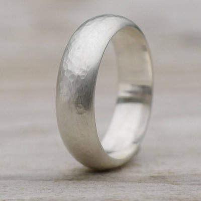 Mens Hammered Sterling Silber Ring