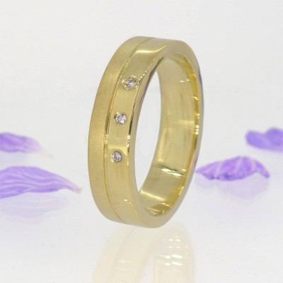 Mens Moderne Diamant Ring in 18 karätigem Gold