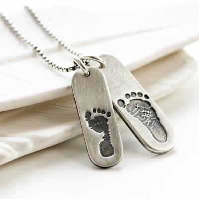 Herrendoppel Fußabdruck Tag Halskette