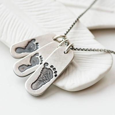 Mens Footprint Trio Tag Halskette