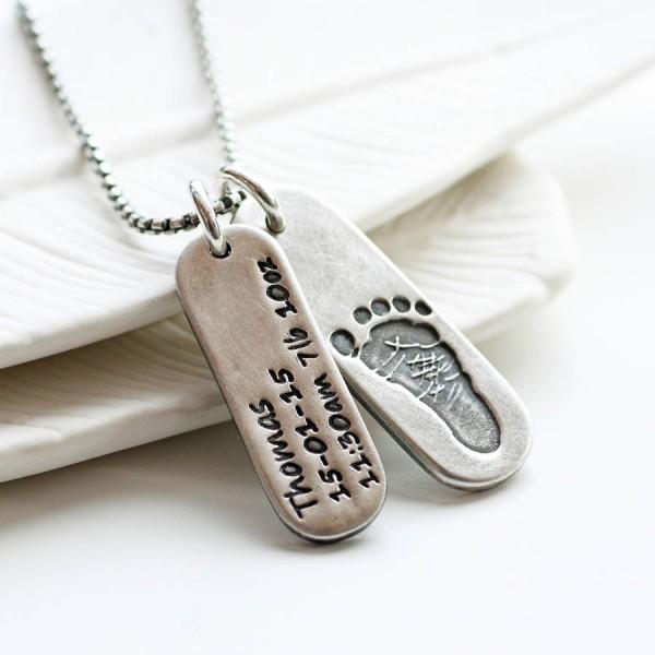Mens Personalisierte Fußabdruck Tag Halskette