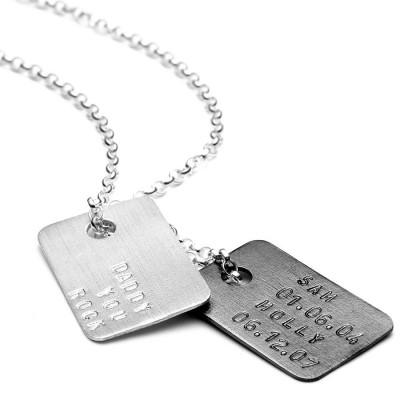 Mens Personalisierte Silber Tag Halskette