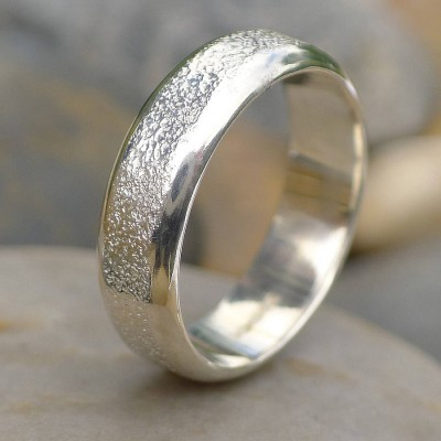 Mens Silber Ring mit Concrete Texture