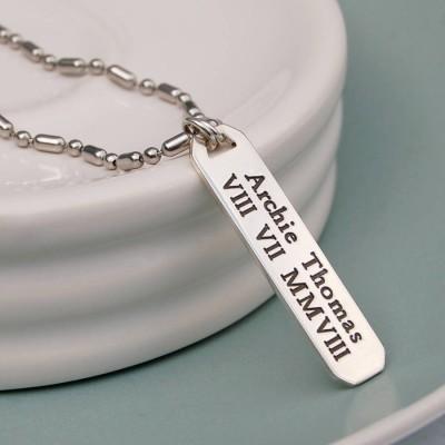 Mens Personalisierte Silber Vertical Bar Halskette