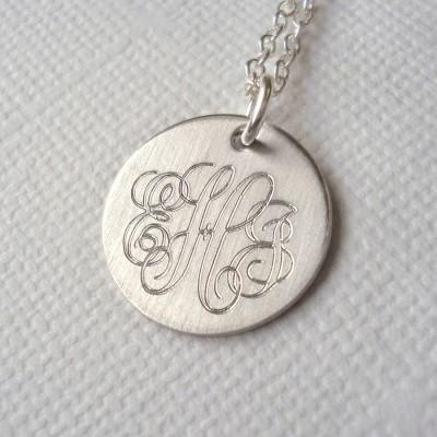 Mens Klassische Sterling Silber Monogramm Halskette
