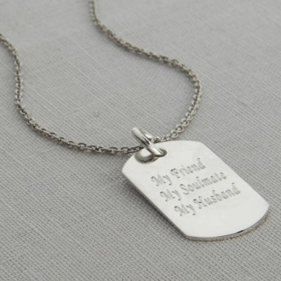 Personalisierte Polierte Sterlingsilber Dog Tag Halskette