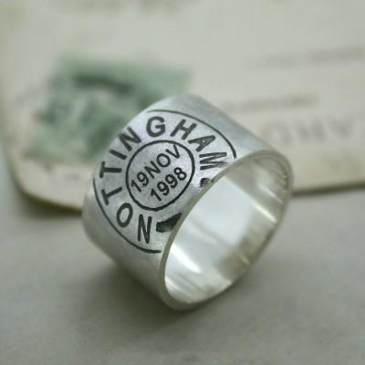 Mens Personalisierte Ort und Datum Ring