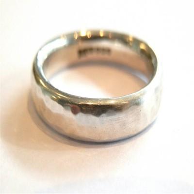Mens Silber gehämmert Ring