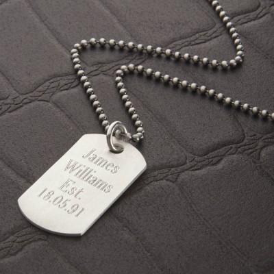Personalisierte Brushed Sterling Silber Dog Tag Halskette