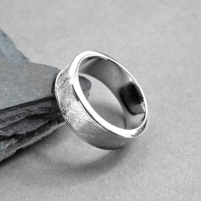 Meteorite Intarsien Silber Ring