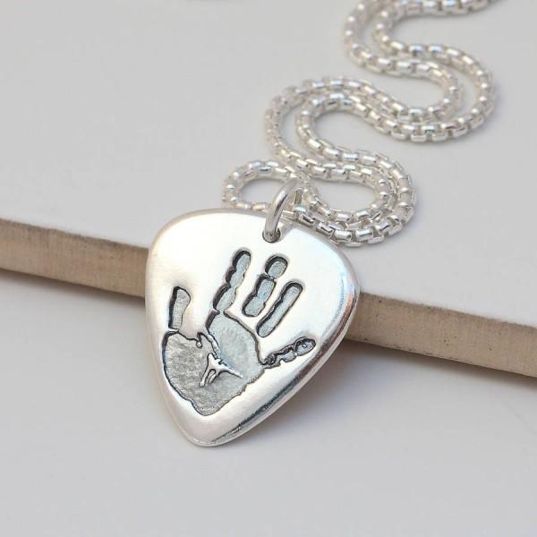 Mens Personalisierte Hand oder Fußabdruck Halskette