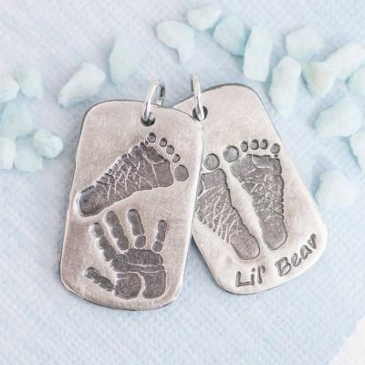 Personalisierte Handprint Footprint Erkennungsmarke
