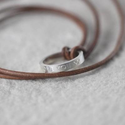 Personalisierte Leder Ring Halskette