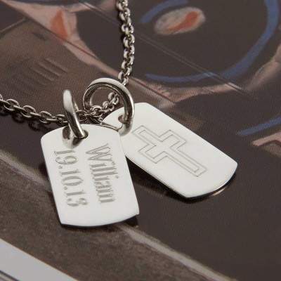 Personalisierte Sterling Silber Doppel Dog Tag Halskette