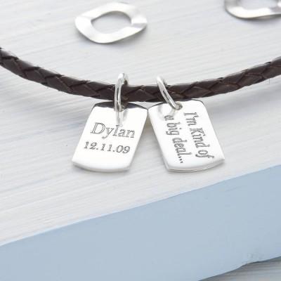 Personalisierte Silber Minihundemarke Lederhals