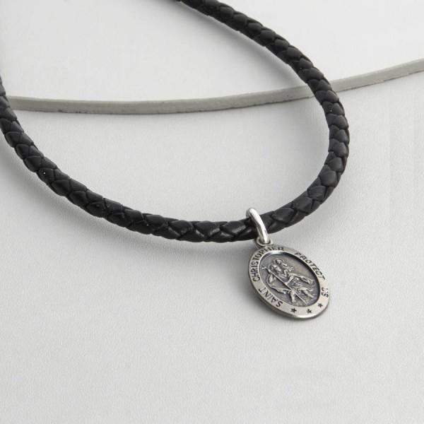 Personalisierte Sterling Silber St Christopher Necklet