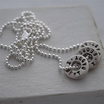 Personalisierte Silber Washer Halskette