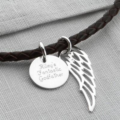 Personalized Silver Wing Und Disc Leder Necklet