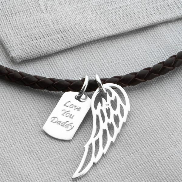 Personalized Silver Wing Und Dogtag Leder Necklet