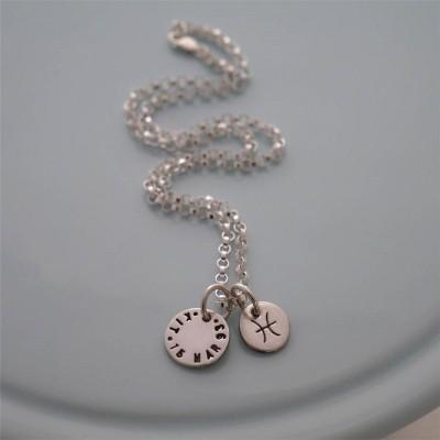 Personalisierte Silber Sternzeichen Halskette