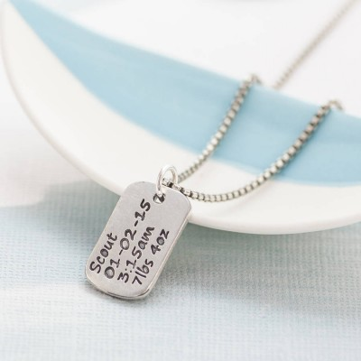 Personalisierte Dog Tag Halskette mit Baby Geburts Info
