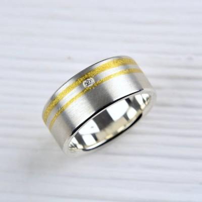 Silber und Finegold Diamant Ring