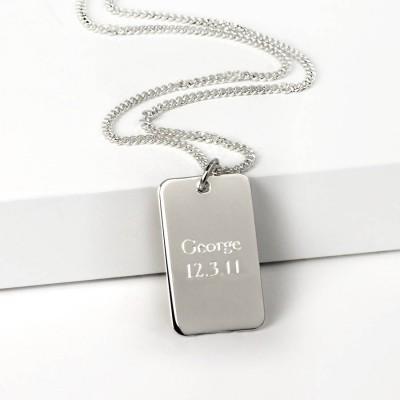 Silber Dog Tag Halskette