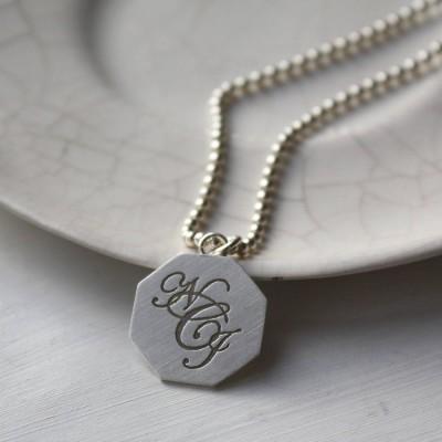 Silber Monogramm Halskette