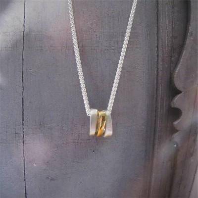 Silber Ovals Halskette mit Gold